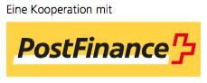 Logo PostFinance - in Kooperation - DigiCollect, Sarnen, Schweiz